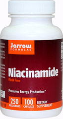 Flush Free Niacinamide 250 mg From the Manufacturer's Label:<br /><br />Promotes Energy Production**<br /><br />Niacinamide is the form of niacin that circulates in the bloodstream and is needed for the synthesis of energy (ATP), the activation of folate and the regeneration of glutathione.** Niacinamide and niacin are the two forms of vitamin B3. Niacinamide does not cause flushing or skin irritation.**<br /><br />Manufactured by Jarrow Formulas®. 10