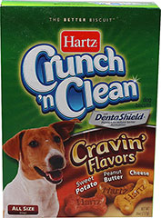 Crunch 'n Clean Cravin' Flavors Dog Biscuits <p><strong>From the Manufacturer:</strong></p><p><strong></strong>Hartz Crunch 'n Clean Biscuits are the only dog biscuits with Dentashield proven to reduce tartar formation. Cravin' Flavors Dog Biscuits have three cravin' flavor biscuit varieties that dogs crave most. Each flavor, Sweet Potato, Peanut Butter, and Cheese are oven-baked and basted to seal in extra flavor dogs love.</p>