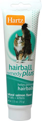 Hairball Remedy Plus <p><strong>From the Manufacturer:</strong></p><p><strong></strong>Hartz Hairball Remedy Plus for Cats & Kittens to help eliminate and prevent the common symptoms of hairballs. It not only helps hairballs pass safely through the gastrointestinal tract, but also helps prevent the formation of hairballs through regular use.</p> 2.5 oz Paste  $7.99