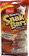 Hearty Snak Bars Peanut Butter <p><strong>From the Manufacturer:</strong></p><p><strong></strong>Hartz Hearty Snak Bars for Dogs are a combination of chew and treat with a mixture of peanut butter flavor and whole grain oats that deliver a satisfying healthy treat.</p> 6 Pack  $9.99
