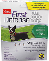 First Defense Topical Treatment 5-22 lbs <p><strong>From the Manufacturer: </strong></p><p>Hartz First Defense Topical Treatment for Dogs 5-22 lbs kills Fleas, Ticks, and Chewing Lice as well as prevents and controls re-infestations. Fast acting, long lasting, waterproof formulation remains effective even after bathing, water immersion or exposure to light.</p> 3 Pack  $34.99