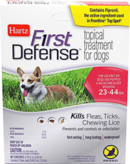 First Defense Topical Treatment for Dogs 23-44 lbs <p><strong>From the Manufacturer: </strong></p><p>Hartz First Defense Topical Treatment for Dogs 23-44 lbs kills Fleas, Ticks, and Chewing Lice as well as prevents and controls re-infestations. Fact acting, long lasting, waterproof formulation remains effective even after bathing, water immersion, or exposure to light.</p> 3 Pack  $7.99