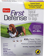 First Defense Topical Treatment 45-88 lbs <p><strong>From the Manufacturer: </strong></p><p>Hartz First Defense Topical Treatment for Dogs 45-88 lbs kills Fleas, Ticks, and Chewing Lice as well as prevents and controls re-infestations. Fast acting, long lasting, waterproof formulation remains effective even after bathing, water immersion or exposure to light.</p> 3 Pack  $11.66