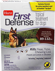 First Defense Topical Treatment 89-132 lbs <p><strong>From the Manufacturer: </strong></p><p>Hartz First Defense Topical Treatment for Dogs 89-132 lbs kills Fleas, Ticks, and Chewing Lice as well as prevents and controls re-infestations. Fast acting, long lasting, waterproof formulation remains effective even after bathing, water immersion, or exposure to light.</p> 3 Pack  $34.99
