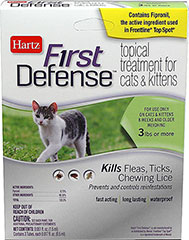 First Defense Topical Treatment for Cats 3lbs or more <p><strong>From the Manufacturer: </strong></p><p>Hartz First Defense Topical Treatment for Cats 3 lbs or more kills Fleas, Ticks, and Chewing Lice as well as prevents and controls re-infestations. Fast acting, long lasting, waterproof formulation remains effective even after bathing, water immersion, or exposure to light.</p> 3 Pack  $10.99