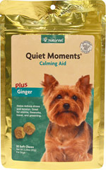 Quiet Moments Calming Aid Soft Chews <p><strong>From the Manufacturer:</strong></p><p>NaturVet's Quiet Moments Calming Aid Soft Chews are recommended to help support the nervous system in reducing stress and tension. Great for travel, thunderstorms, new environment<strong></strong>s, fireworks, and grooming.</p><ul><li>Made in the USA</li></ul> 30 Chews  $6.99