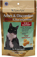 Aches & Discomfort Plus Glucosamine Soft Chews <p><strong>From the Manufacturer:</strong></p><p><strong></strong>Naturvet's Aches & Discomfort Plus Glucosamine helps to support minor aches and discomfort caused by everyday activity. This unique combination of ingredients is Veterinarian formulated to provide natural support in managing a pet's discomfort. The added benefit of Glucosamine provides extra joint support important in maint