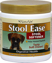 Stool Ease Soft Chews <p><strong>From the Manufacturer:</strong></p><p>A pet's colon is used to rid the body of waste, toxins, and bacteria. When feces are retained in the colon for two or three days, they become dry and hard, and require straining to pass. Healthy dogs typically have one or two bowel movements each day depending on the individual pet and diet. Our special proprietary fiber blend formula will help maintain regularity and soften stools. Be sure t