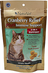 Cranberry Relief Plus Immune Soft Chews <p><strong>From the Manufacturer:</strong></p><p><strong></strong>NaturVet's Cranberry Relief Plus Immune Support helps support a healthy urinary tract and provide essential immune support to maintain overall health.</p><ul><li>Made in the USA</li></ul> 50 Soft Chews  $12.99