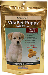 Vita Pet Puppy Soft Chews <p><strong>From the Manufacturer:</strong></p><p><strong></strong>Formulated specifically for puppies! Veterinarian recommended and scientifically formulated to provide growing and active puppies with essential vitamins, minerals, amino acids, and fatty acids. Freshens breath too!</p> 60 Chews  $11.99