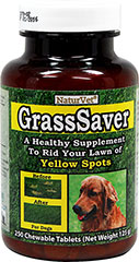 GrassSaver Tablets <p><strong>From the Manufacturer:</strong></p><p><strong></strong>GrassSaver is a healthy food supplement for dogs. This unique formula contains a synergistic combination of B-Complex vitamins and amino acids. Imagine how green your lawn can look. Simply feed GrassSaver to your dog on a daily basis and rid your lawn of yellow spots.</p> 250 Tablets  $29.99
