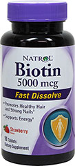 Biotin 5000 mcg Fast Dissolve Strawberry Tablets <p>From the Manufacturer's Label:<br /></p><ul><li>Promotes Healthy Hair and Strong Nails**</li><li>Supports Energy**</li><li>Strawberry Flavor</li><li>Fast Dissolve<br /><br />Manufactured by Natrol.<br /></li></ul> 90 Melts 5000 mcg $7.49