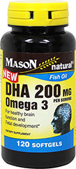DHA 200 mg Omega 3  120 Softgels 200 mg