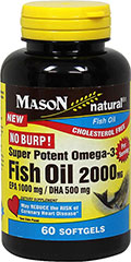Omega-3 Fish Oil 2,000 mg per serving <p><strong>From the Manufacturer's Label:</strong></p><ul><li>Cholesterol Free</li><li>No Burp!<br /></li></ul><p>Omega-3 fish oils help contribute to overall heart health and good blood circulation.**   <br /><br />Manufactured by Mason Naturals®<br /></p> 60 Softgels 2000 mg $14.99