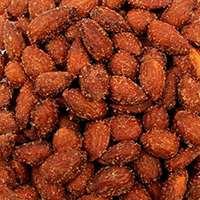 Barbeque Almonds These Barbeque almonds are seasoned with Aurora's own unique BBQ spice blend and slow roasted to a smoky, spicy-sweet perfection. 9.5 oz Container  $10.99