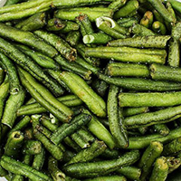 "Green Veggie Beans Here's a sensible and tasty way to ""eat your greens!"" Veggie Beans are the crunchy green beans that come in many of the Veggie Chip mixes. Delicious and crunchy dried green bean chips make for a healthy and crunchy snacking alternative. 9 oz Container  $13.99"