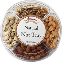 Natural Nuts Gift Tray <p>This natural nut platter is great to bring as a gift or to serve your guests. It is also the perfect combination of the most popular nuts we offer.</p><p>Contains an assortment of the following:</p><ul><li>Pistachios</li><li>Walnuts</li><li>Cashews</li><li>Almonds</li></ul> 13 oz Container  $24.98