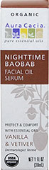 Nighttime Baobab Facial Oil Serum <p><strong>From the Manufacturer: </strong>Your regular evening facial cleansing routine removes the daytime build-up of grease, grime, and make-up, but it also destroys the skin's natural moisture-preserving protective layer. Baobab's vital mix of 33% saturated and 67% unsaturated essential fatty acids replaces your skin's natural oils, allowing your skin to stabilize and recover during a good night's rest. Apply after nighttim