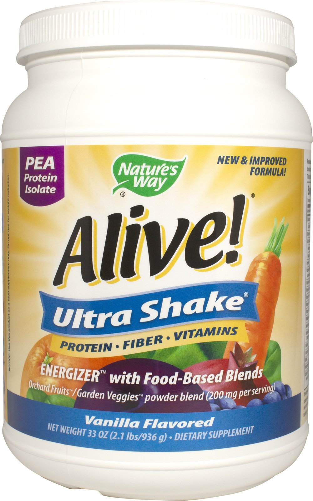 Pea Protein Vanilla <p>From the Manufacturer's Label:<br /><br />Alive! Ultra-Shake is nutrition you can feel - packed with vitamins, minerals, fruits, vegetables, protein, fiber, green foods, omega 3/6/9 fatty acids, mushrooms, antioxidants, enzymes and more!  Alive! Ultra-Shake contains easy-to-digest pea protein isolate complete with 18 amino acids, plus a lower allergen potential than soy or whey sources.<br /><br />Manufactured by Nature's Way.
