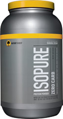 Isopure Zero Carb Whey Protein Isolate Banana Cream <p>From the Manufacturer's Label:<br /><br />50 grams of 100% pure whey protein isolate and not a carb in sight.  And it still comes with glutamine and nutrients, but no lactose or impurities, so it's easy to drink.<br /><br />Manufactured by Nature's Best.</p><p></p><p></p> 3 lbs Powder  $42.49
