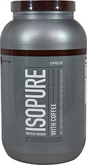 Isopure with Coffee Espresso <p><strong>From the Manufacturer's Label:</strong></p><p>50 grams of 100% pure whey protein isolate and a kick of real coffee to start your day.  And it still comes with glutamin and nutrients, but no lactose or impurities, so it's easy to drink.</p><p>Manufactured by Nature's Best.</p> 3 lbs Powder  $44.99