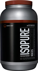 Isopure Mass Whey Protein Isolate Dutch Chocolate <p><strong>From the Manufacturer's Label:</strong><br /><br />Mass is loaded, and we mean loaded with 86 grams of carbs, 600 calories and 53 grams of 100% pure whey protein isolate.  All while being completely lactose-free.  But most importantly, it's easy to drink so you gain weight without feeling like you're gaining weight.<br /><br />Manufactured by Nature's Best.<