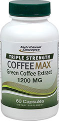 Triple Strength Coffeemax™ Green Coffee Bean Extract 1200 mg <p><strong>From the Manufacturer's Label:</strong><br /><br />Triple Strength Coffeemax™ is made from only the purest extract of Green Coffee (Coffea arabica).<br /><br />Manufactured  by Nutritional Concepts.</p><p></p><p></p> 60 Capsules  $14.99