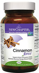 Cinnamon Force® <p><strong>From the Manufacturer's Label:</strong></p><p><strong></strong></p><p>The full spectrum of beneficial compounds found in Cinnamon Force is delivered using a supercritical extraction, whole-food approach to herbal supplementation.  New Chapter uses no harsh chemical solvents to deliver a super-pure, super-potent herbal extract.</p><p>Manufactured by New Chapter.</p> 120 Softgels  $