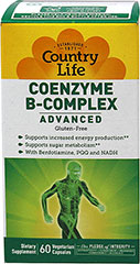 "Coenzyme B-Complex <p><strong>From the Manufacturer's Label:</strong></p><ul><li>With Benfotiamine, PQQ and NADH</li><li>Supports Sugar Metabolism**</li><li>Supports Increased Energy Production**<br /></li></ul><p><br />From the leader in vitamin B-complexes, comes Country Life's most advanced ""coenzymated"" formulation yet.  This powerful and revolutionary complex provides essenti"