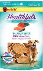 Healthfuls Wholesome Treats for Dogs Salmon Bites <p><strong>From the Manufacturer:</strong></p><p>Ruffin' It Healthfuls Salmon Snack Bites are packed with nutritious goodness and the natural fish flavor that dogs love.  Made entirely from Salmon and are rich in Omega-3 fatty acids.</p> 3 oz Bag  $6.99