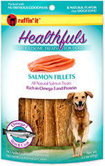 Healthfuls Wholesome Treats for Dogs Salmon Filets <p><strong>From the Manufacturer:</strong></p><p>Ruffin' It Healthfuls Salmon Snack Fillets are packed with nutritious goodness and the natural fish flavor that dogs love.  Made almost entirely from Salmon and are rich in Omega-3 fatty acids.</p> 3.5 oz Bag  $6.99