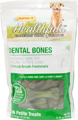 Healthfuls Dental Bones for Petite Dogs <p><strong>From the Manufacturer:</strong></p><p>Ruffin' It Healthfuls Dental Bones Petite Treats are specially formulated to improve your dog's oral health and freshen breath when chewed daily.  Our Bone's firm consistency and chewy texture work to clean teeth and stimulate gums as the treat is chewed. </p>  16 count Bag  $9.99