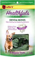 Healthfuls Dental Bones for Dogs Regular <p><strong>From the Manufacturer:</strong></p><p>Ruffin' It Healthfuls Dental Bones are specially formulated to improve your dog's oral health and freshen breath when chewed daily.  Our Bone's firm consistency and chewy texture work to clean teeth and stimulate gums as the treat is chewed.</p>  8 count Bag  $9.99