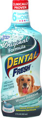 "Dental Fresh Original Formula for Dogs <p><strong>From the Manufacturer:</strong></p><p>Synergy Labs Dental Fresh for Dogs is the ""world's first toothbrush in a bottle"".  Eliminates plaque, tartar, and odor causing organisms.  Helps clean and whiten teeth, protect gums, and improve oral health. </p><ul><li>Made in the USA</li></ul>  17 oz Liquid  $15.99"
