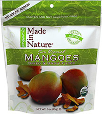 100% Certified Organic Dried Mango <p><strong>From the Manufacturer:</strong></p><p><strong></strong>Made in Nature's Organic Sun-Ripened Mangoes are decadent slices of natural sweetness. Our sumptuous snacks are filled with fiber and packed with Vitamin C and Antioxidants - with no added sugar, chemical preservatives, or artificial anything. Our luscious, sun-dried mangoes will add a burst of tropical flavor to any occasion!</p><ul><l