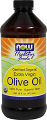 Organic Extra Virgin Olive Oil <p><strong>From the Manufacturer's Label:</strong></p><p><strong></strong></p><p><strong></strong>Now Foods Certified Organic Extra Virgin Olive Oil is 100% Pure, Superior taste. A flavorful cholesterol-free oil that has been a cooking staple for centuries. Excellent for salad dressings and any type of cooking.</p> 16 oz Liquid  $16.99
