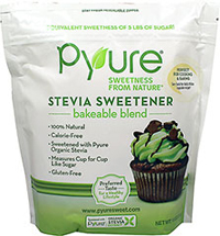 Stevia Sweetener Bakeable Blend <p><strong>From Manufacturer's Label:</strong></p><ul><li>Equivalent Sweetness of 5 lbs of Sugar!</li><li>Natural</li><li>Calorie-Free</li><li>Sweetened with Pyure Organic Stevia</li><li>Measures Cup for Cup like Sugar</li><li>Gluten-Free<br /><br />What if you could enjoy all of your favorite baked goods while also reducing your sugar intake? Pyure Bran