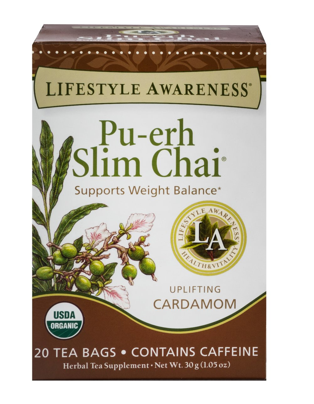 Organic Pu-erh Slim Chai Tea <p><strong>From the Manufacturer:</strong></p><p>Pu-erh Slim Chai tea is a fermented black tea which has been used to promote well-being. Refreshing Rooibos and fragrant Cardamom uplift your senses any time of day. This tea offers a lively balance of flavors to help you live the lifestyle you were meant to live. Sip and be well!</p> 20 Bags  $6.99