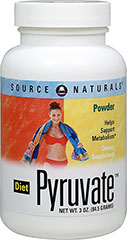 Diet Pyruvate™ 500 mg <p><strong></strong></p><p><strong>From the Manufacturer's Label:</strong><br /><br />Helps Support Metabolism**<br /><br />Pyruvate plays an important role in metabolism and the energy-production process. It is the link between two of the main energy-generating cycles in the body, glycolysis (anaerobic metabolism) and the Krebs cycle. Pyruvate is also found in small quantities in foods. Source Naturals Diet