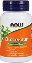 Butterbur Extract 75 mg with Feverfew 200 mg From the Manufacturer's Label:<br /><br />• Neurological Support**<br />• 75 mg of 12% Extract<br />• With Feverfew<br /><br />Modern scientific studies have demonstrated that Butterbur supports healthy blood flow to the brain and healthy neurological function.**  NOW® Butterbur is also free of undesirable Pyrrolizidine Alkaloids (PA's), so it can be used regularly.**<br /><br />Manufacture