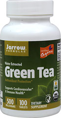 Organic Green Tea Extract 500 mg <p><strong>From the Manufacturer's Label:</strong></p><ul><li>Antioxidant Protection**</li><li>Supports Cardiovascular and Immune Health**<br /></li></ul><p>Jarrow FORMULAS® Organic Green Tea 500 is water extracted and consists of 50% polyphenols, including 35% catechins, approximately 20% of which is the important EGCG fraction. The polyphenols in green tea are potent antioxidants a