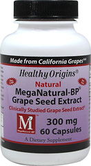 Grape Seed Extract 300 mg MegaNatural-BP® <p></p><p><strong>From the Manufacturer's Label:</strong><br /><br />Healthy Origins MegaNatural-BP grape seed extract is made from a special blend of California grown, non-gmo red and white varietal grape seeds.  MegaNatural-BP is extracted using a patented, solvent-free water extraction process which yields a low molecular weight product.<br /><br />MegaNatural-BP is to be used as