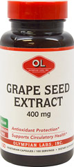 "Grape Seed Extract 400 mg <p><strong>From the Manufacturer's Label:</strong><br /><br type=""_moz"" /></p><ul><li>Antioxidant Protection**</li><li>Supports circulatory Health**<br /></li></ul><p><br />Olympian Labs, Inc. products are made with the highest quality ingredients and manufactured according to current Good Manufacturing Practices (cGMP).<br /><br />Manufactured by Olympian"