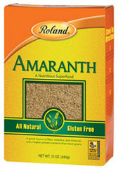 Gluten Free Amaranth <p><strong>From the Manufacturer:</strong></p><p>Roland Amaranth is a gluten-free grain and a good source of both fiber and protein. Enjoy this deliciously, nutty grain in soups, salads, or use as a side dish as a replacement for rice. You can also pop the grain like popcorn or eat as a breakfast cereal! When a recipe calls for a grain, Amaranth is an excellent choice.</p><ul><li>Gluten-Free</li></ul> 12 oz Box  $7.