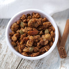 Pumpkin Pie Granola <p><strong>From the Manufacturer:</strong></p><p>Enliven your senses with this homemade mixture of real pumpkin & divine spices. It's a hearty granola packed full of pecans, walnuts, and pumpkin seeds with a dash of cinnamon, ginger, nutmeg and cloves.</p><ul><li>Made with Whole Grains</li><li>Low in Cholesterol</li><li>Zero Trans Fat</li></ul> 8 oz Bag  $7.99