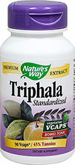 Triphala Standardized Extract 500 mg <p>From the Manufacturer's Label:</p><p>• Bowel Tonic**<br />• 45% Tannins<br />• Vegetarian Vcaps<br /><br />Triphala Extract blend (Emblica officinalis, Terminalia bellerica and Terminalia chebula), is standardized to 45% tannins.  Triphala is an equal blend of three fruits known for its synergistic and mild effects on cleansing the bowel.**</p><p>Manufactured by Nature's Way</p><p&