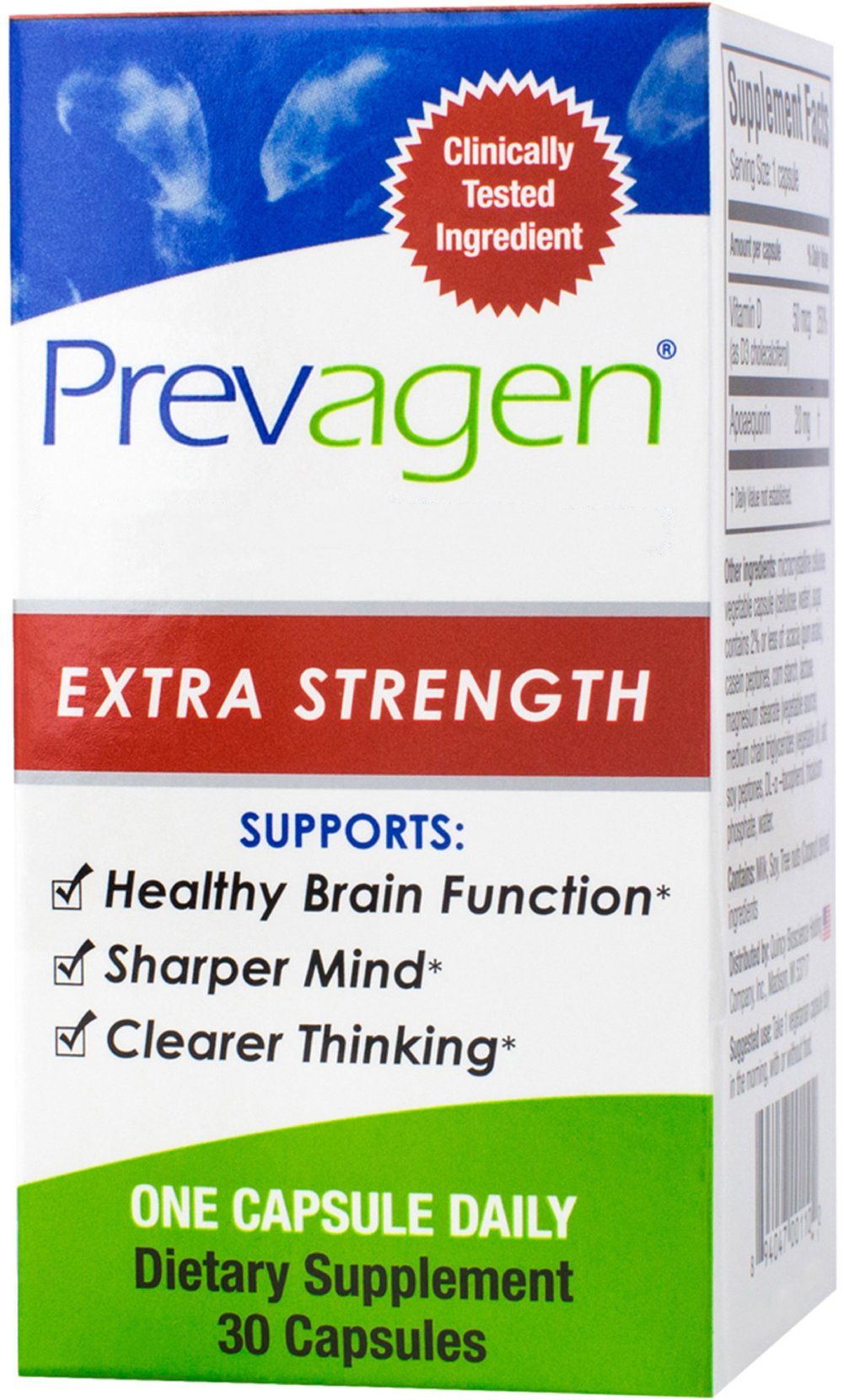 Prevagen® Extra Strength <p></p><p><strong>From the Manufacturer's Label:</strong><br /></p><p>Supports: </p><ul><li>Healthy Brain Function**</li><li>Sharper Mind**</li><li>Clearer Thinking**<br /></li></ul><p>Prevagen Extra Strength® is designed to have twice the apoaequorin as regular strength Prevagen.<br /><br />Prevagen Extra Strength contains apoaequor