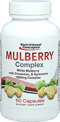 White Mulberry Complex with Cinnamon & Gymnema <strong>From the Manufacturer's Label:    </strong><br /><br />Mulberry Complex contains white mulberry leaf. Mulberries are tiny yet powerful berries that are now considered a 'super food'.** They contain high levels of fiber, protein, and antioxidants. Our Mulberry, Gymnema and Cinnamon blend make this a unique and powerful formula.<br /><br />Manufactured by Nutritional Concep
