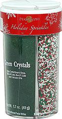 Holiday Sprinkles <p><strong>From the Manufacturer:</strong></p><p>Decorate your holiday cookies and desserts with these fun, festive holiday sprinkles. Be creative in your holiday baking this year!</p><p>Includes the following sprinkles:</p><ul><li>Green Crystals</li><li>Red Crystals</li><li>Jingle Mix</li><li>Tree & Trim</li></ul> 6.3 oz Jar  $3.29
