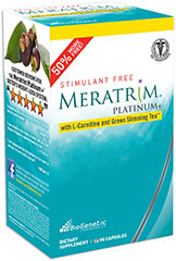 Meratrim Platinum <strong>From Manufacturer's Label:</strong><br /><br />Meratrim Platinum with L-Carnitine and Green Slimming Tea™<br /><br />• 50% More Free!<br />• Stimulant Free<br /><br />Contains 90 capsules.<br /><br />Manufactured by: Bio Genetic Laboratories 90 Capsules  $9.99